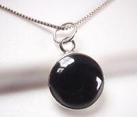 Black Onyx Small Circle 925 Sterling Silver Round Pendant Corona Sun