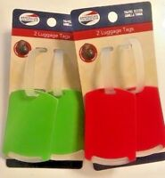 4pk Large American Tourister Privacy Luggage Suitcase Tough Tags 2 Red+2 Green