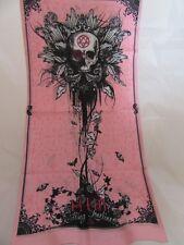 tour de cou,tube cagoule,têtes de mort fond rose, lady, femme, moto,airsoft