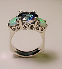 STERLING SILVER MYSTIC TOPAZ OPAL THREE STONE RING SIZE 5.5