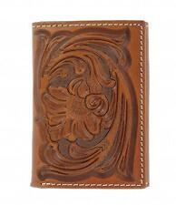 Nocona Tri-Fold Genuine Leather Tooled Western Men's Wallet Tan-N5490808