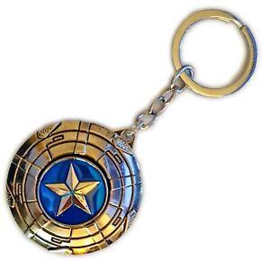 Marvel Avengers Captain America Spinning Shield Metal Pewter Keychain / Keyring