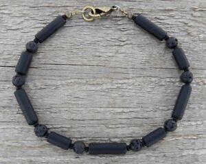Mens Thin Black Bracelet in Matte Glass and Lava Stone