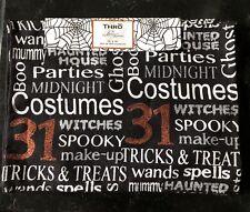 Set Of 4 New Marlo Lorenz Thro Halloween Words Black 100% Jute Place Mats