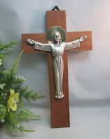 Beautiful vtg wood crucifix cross made in Italy with metal Christ figure