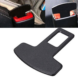 1x Car Safety Seat Belt Buckle Alarm Stopper Eliminator Clip Clamp Black Decor