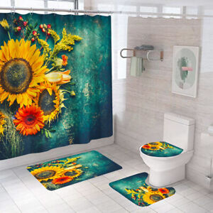 Sunflower Shower Curtain Set Bathroom Rug Thick Soft Toilet Lid Cover Bath Mat