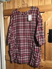 "New Pink & Khaki Check Top By TU Size 18 Chest 42""-44"" Max Frayed Edging"