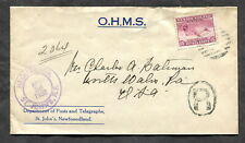 p231 - NEWFOUNDLAND 1932 Registered Cover to USA. OHMS. Northern Seal Single Use
