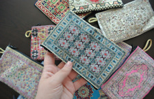 10 Pieces Coin Purse Wholesale! Ethnic Carpet Patterned Zippered Pouch Bag