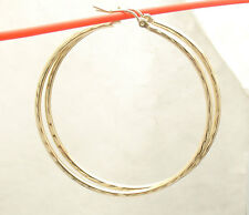 "2mm X 50mm 2"" Large  FULL Diamond Cut Round Hoop Earrings REAL 10K Yellow Gold"