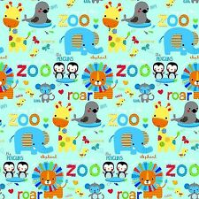 Fabric Zoo Animals Roar on Baby Blue Flannel by the 1/4 yard BIN