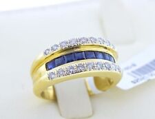 18K Yellow Gold Yellow Blue Sapphire Princess Cut Si H White Diamond Ring Size 7