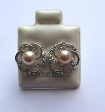 Sterling Silver Freshwater Pink pearl cubic zirconia flower stud earrings