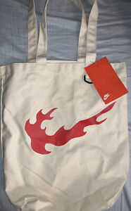 Nike HERITAGE Tote Bag Natural/Habanero Red BA6027-110 NEW WITH TAGS