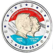 Luxemburg 2 Euro 2005 Henry und Adolphe Gedenkmünze in Farbe