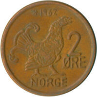 COIN / NORWAY / 2 ORE 1962     #WT5087