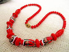 CHINESE CHEVRON BARREL BEAD RED ART GLASS NECKLACE VTG ANTIQUE ESTATE JEWELRY