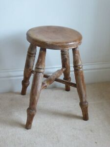 Vintage Antique Pine Small Milking Style Stool