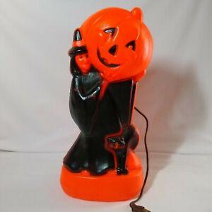 Vintage Halloween Witch Black Cat Pumpkin Blow Mold 14 Inch General Foam