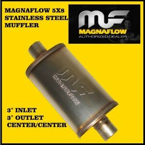 """MAGNAFLOW 3"""" INCH INLET / OUTLET 5x8"""" OVAL MUFFLER CENTER STAINLESS STEEL SS"""