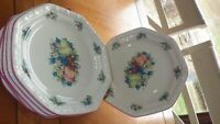 """Sweet Country Harvest Salad Plates by AVON 4 7.25"""" trim pink"""