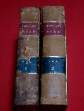 1836 LORD COKE'S FIRST INSTITUTE OF THE LAWS OF ENGLAND, J.H. THOMAS/ VOL.I & II