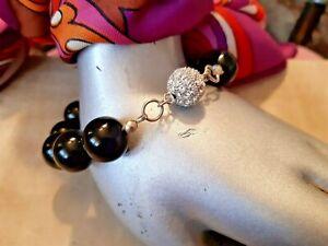 VINTAGE Mystic Black Pearls/Shambala Ball Silver Effect heavy quality Bracelet.
