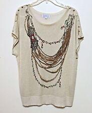 Joseph A Lightweight Gold Metallic Shimmer Light Sweater Top Chain Print XL