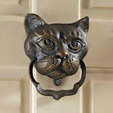 Victorian Antique Replica Cast Iron Good Luck Black Cat Feline Door Knocker