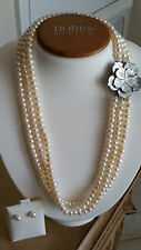"Artisan Triple Stranded Freshwater Pearl White Necklace 20"" & Earring Set"