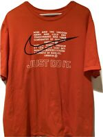 NIKE The Nike Tee Men's Orange T-shirt Size XL Athletic Cut Short Sleeve Cc