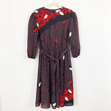 Vintage CANASTA FROCKS Floral Dress Size Medium Elastic Waist Sash Leaves Red