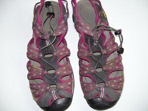 Keen Waterproof Hiking Sandals Women Burgundy & Grey Anti-Odor Foot bed Size 11