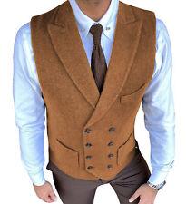 Grooms Orange Double-Breasted Tweed Vest Retro Men Waistcoat Vintage Herringbone