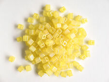 Miyuki Square Transp Frosted Rainbow Yellow Seed Beads (cubes) 3.5-3.7mm(25g)