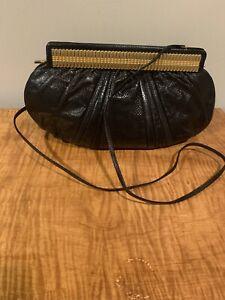 JUDITH LEIBER Woman's Clutch Purse Black Skin Gold clasp