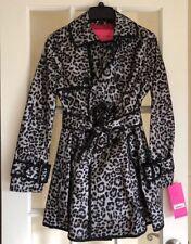Betsey Johnson Trench Coat Leopard Print Mesh Overlay Black Size S Small