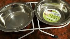 DOG, PET STAINLESS STEEL DOUBLE DINER DISH