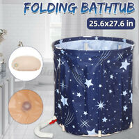 Portable Folding Bathtub Water Tub Barrel Spa Bath PVC Bathroom Adult 70x65