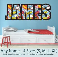 Childrens Name Wall Stickers Personalised Comic - Perfect for Boys/Girls Bedroom