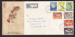 SINGAPORE 1962 'NEE SOON' Pmk FULL SET FISHES REGISTERED FIRST DAY COVER (L269)