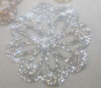 2 X Fleurs glitter couleur ARGENT 5.5 cm thermocolant hotfix patch silver