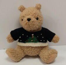 "GUND Classic Pooh Disney Teddy Bear 7"" Plush Stuffed w/Christmas Knit Sweater"
