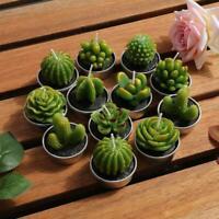 12pcs Cactus Candle Cute Mini Set Artificial Succulent Plants Candles Home Decor