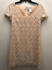 Aritzia Talula Womens Sz Small Floral Beige Lace Blush Lined Mini Shift Dress