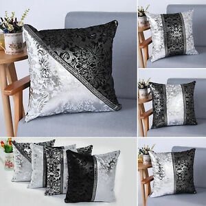 Sparkle Bling  Diamante Crushed Throws Cushion Cover Square Decor 2pcs