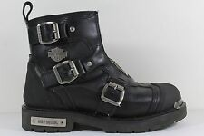 Harley Davidson Women's Boots Black Leather Biker 8.5 Zipper Buckle Shield Z1