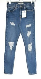 Topshop JAMIE High Rise Skinny Ripped Blue Stretch Jeans Size 10 W28 L30