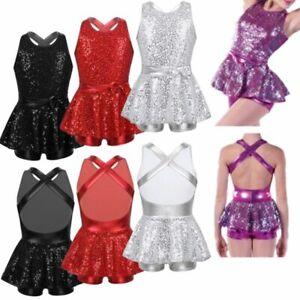 UK Kid Girls Modern Tap Dancewear Ballet Dance Dress Shiny Tutu Leotards Costume